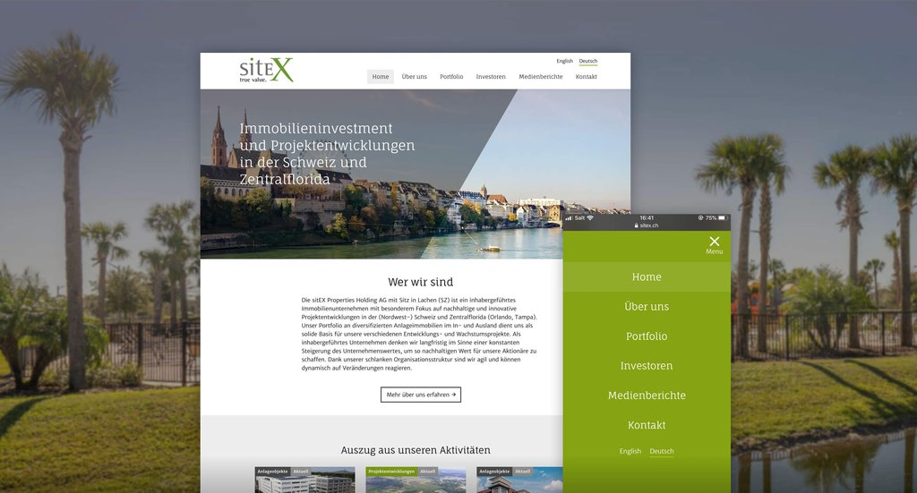 Headerbild Fallstudie sitEX Real Estate corporate Website