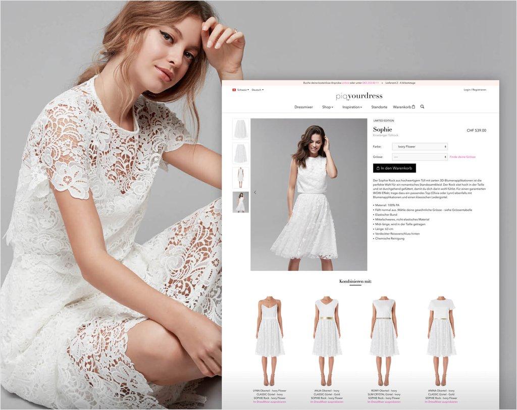 Bildschirmfotos vom Piqyourdress Online Shop (Produktdetailsansicht)