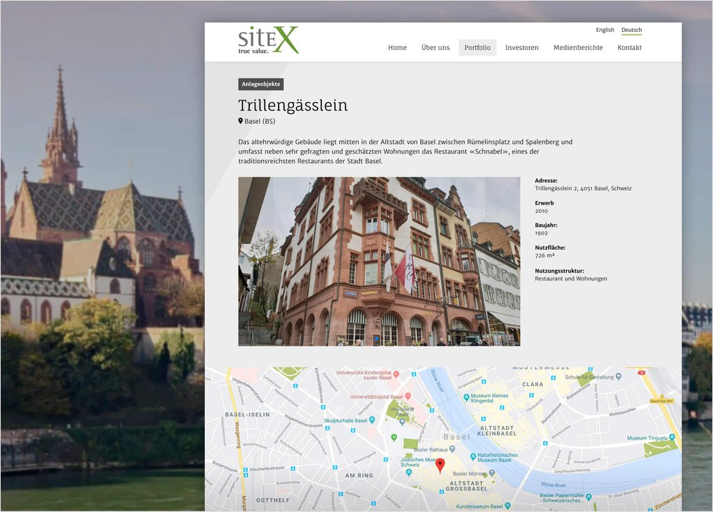 Bildschirmfoto Sitex corporate Website Relaunch