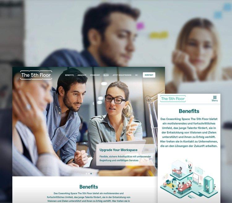 Headerbild Fallstudie the 5th Floor Coworking Website und Blog